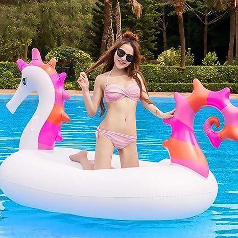 LCYCN Flotador Juguete Hinchable para Piscina,230cm Gigante de Caballito de mar Inflable Piscina Flotador-Fiesta de Agua Juguetes Divertidos-Ride-on Aire colchón Tumbona natación Anillo: Amazon.es: Deportes y aire libre
