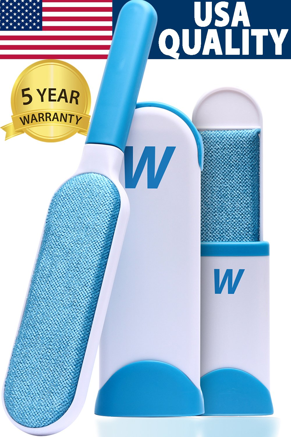WELLTED Pet Hair Remover Brush - Lint Brush - Fur Remover - Fur & Lint Removal - Dog & Cat Hair Remover - Double-Sided Brush with Self-Cleaning Base - for Furniture Clothing Bed Car Seat - Best Gift by WELLTED (Image #1)