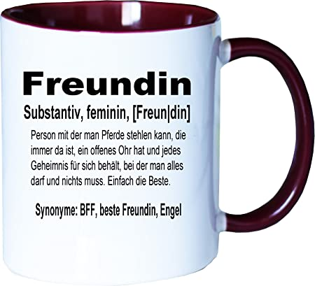 Mister Merchandise Kaffeebecher Tasse Freundin Definition Bff