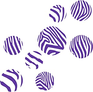 Wall Décor Plus More WDPM2428 Purple Zebra Print Large Dots Wall Sticker Vinyl Decal, 4 - 7 Inch, Purple
