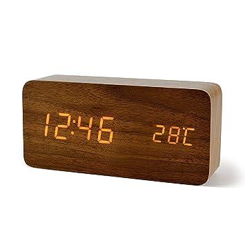 FiBiSonic-Reloj Despertador Digital de LED con 3 Alarmas y con Indicador de Fecha Temperatura Control del Sonido Diseño Estilo Madera y Portátil(Marrón ...