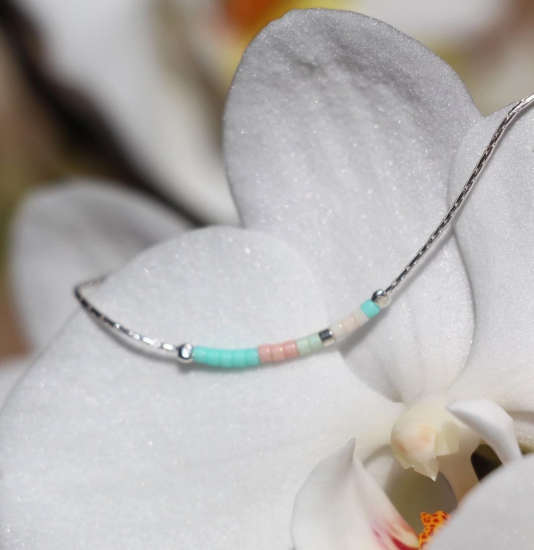 raffin/é -Collier fin minimaliste choker argent massif 925 chaine serpent -perles miyuki menthe et rose p/âle -collier demoiselle dhonneur mariage Parure bijoux cadeau femme discret