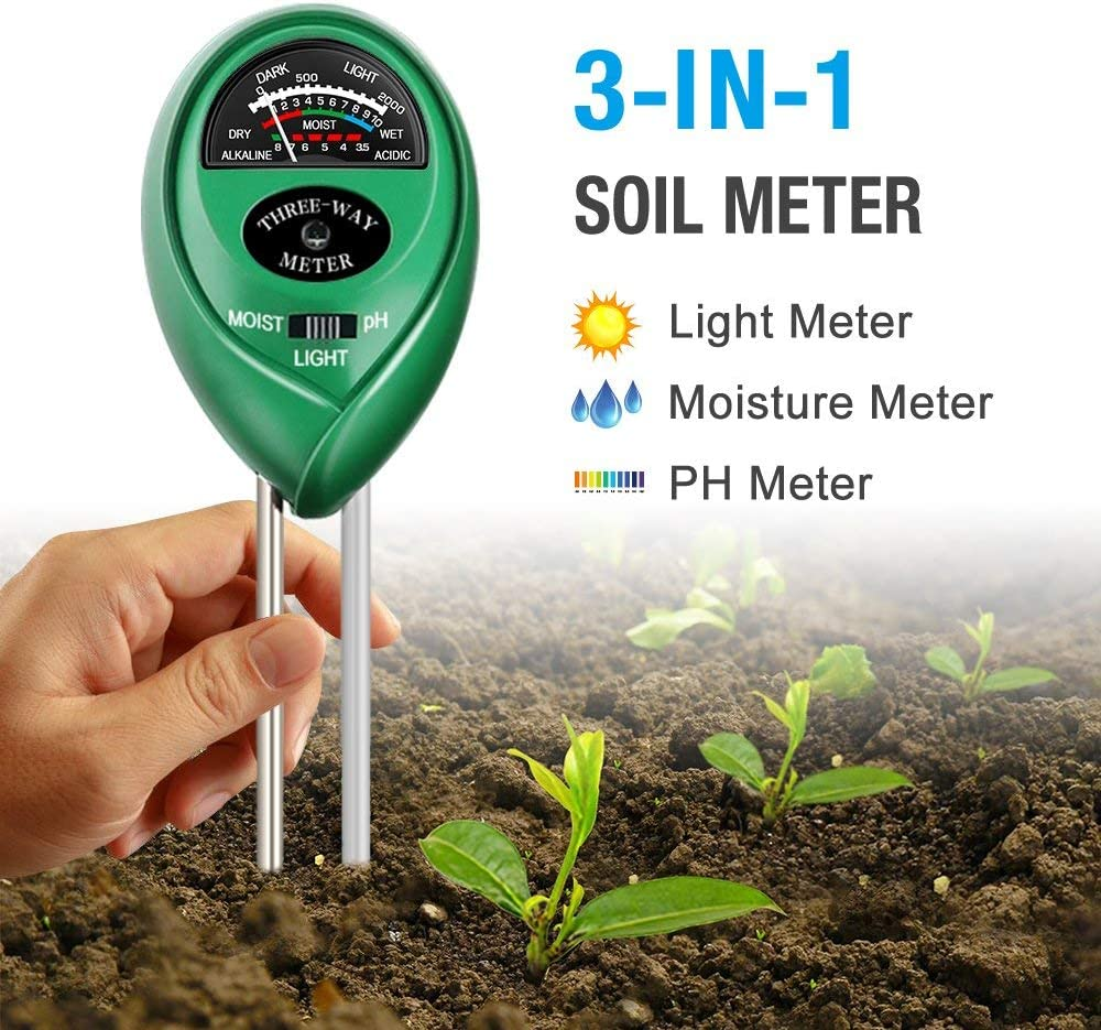 Atree Soil pH Meter, 3-in-1 Soil Tester Kits with Moisture, Light and PH Test for Garden, Farm, Lawn, Indoor & Outdoor (No Battery Needed) : Garden & Outdoor