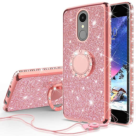new arrivals dc37e c32db LG Stylo 4 Case, LG Stylo 4 Plus Case, LG Q Stylus Case, SOGA Glitter  Diamond Rhinestone TPU Phone Cover with Ring Stand and Lanyard Girls Women  Cover ...