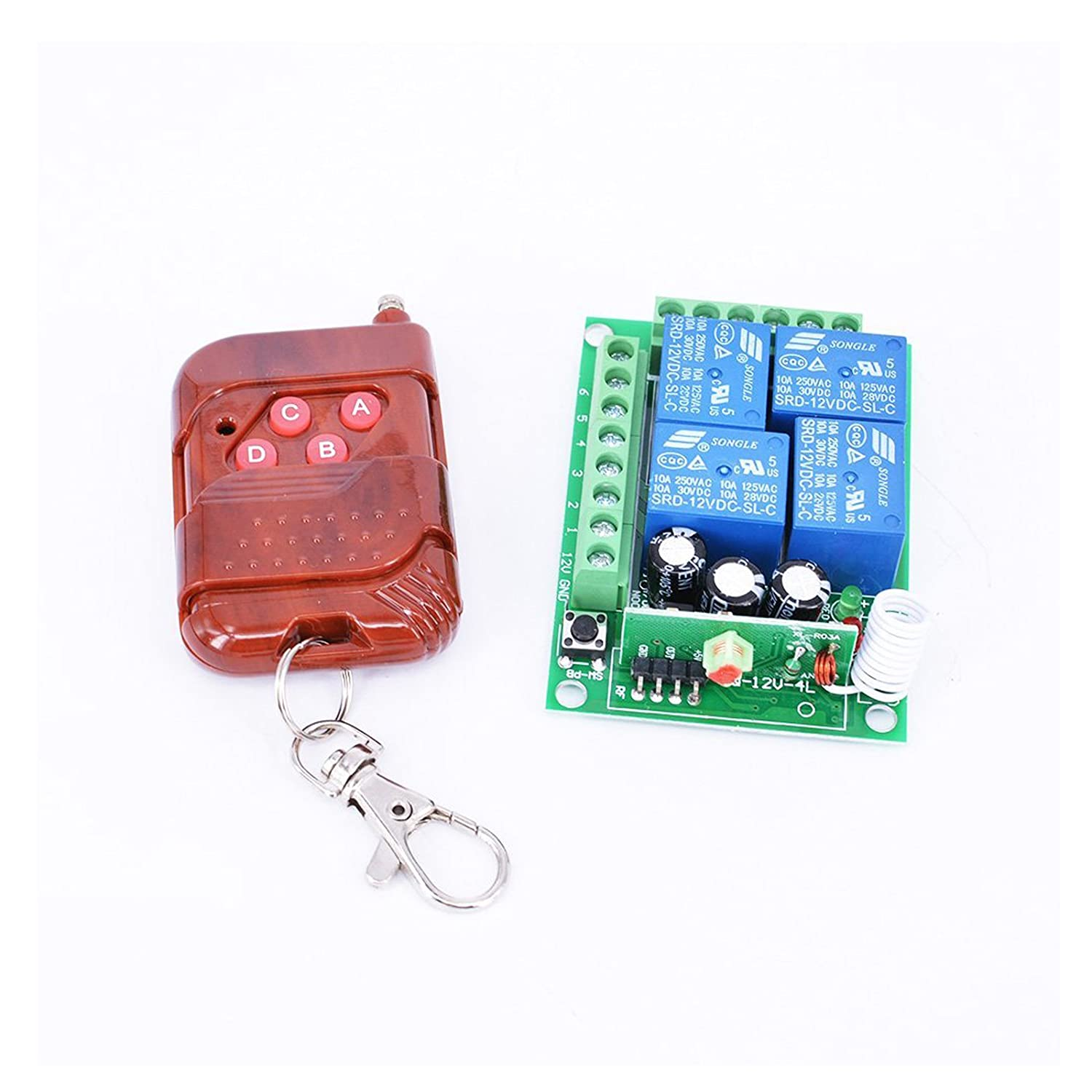 Hot Thunbird New 12v 4 Channel Wireless Remote Control Receiver Momentary Wiring Diagram Switch Garage Door Controls