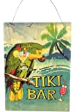 "Tiki Bar Wood Sign with Parrot, Wall Decor 15.75""T x 11.75""W"