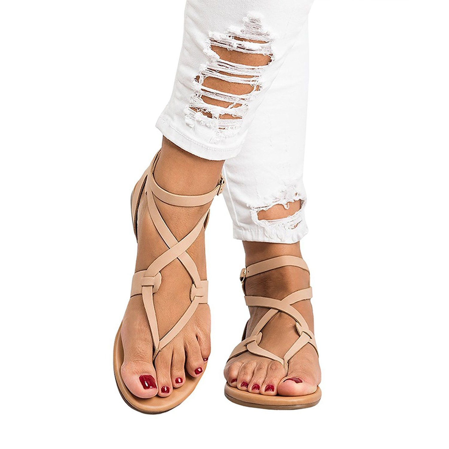 Romantic moments New Arrive Women Gladiator Sandals Summer Women Shoes Plus Size 35-43 Flats Sandals B07DLSY3CT 5 B(M) US|Pink