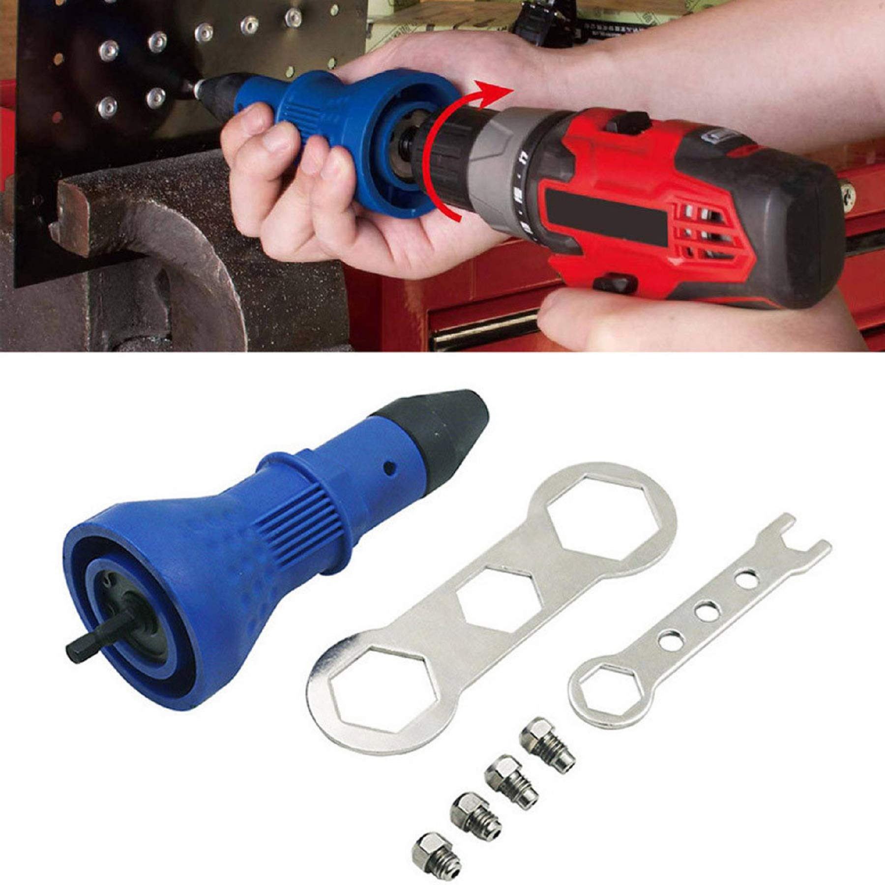 m·kvfa Professional Electric Rivet Nut Detachable Rivet Drill Adapter Insert Nut Tool Efficient Easy to Carry by *m·kvfa* Tools