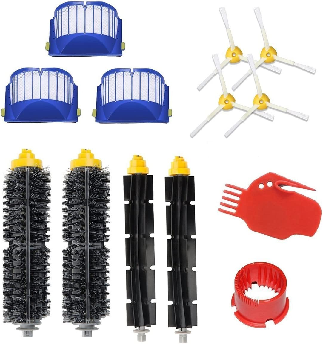 Eagglew Accessories for iRobot Roomba 600 650 Series Replacement Part Kits - 2 Bristle Brush & Flexible Beater Brush, 3 Filter, 4 3-Arm Side Brush, 1 Kit of Cleaning Tool