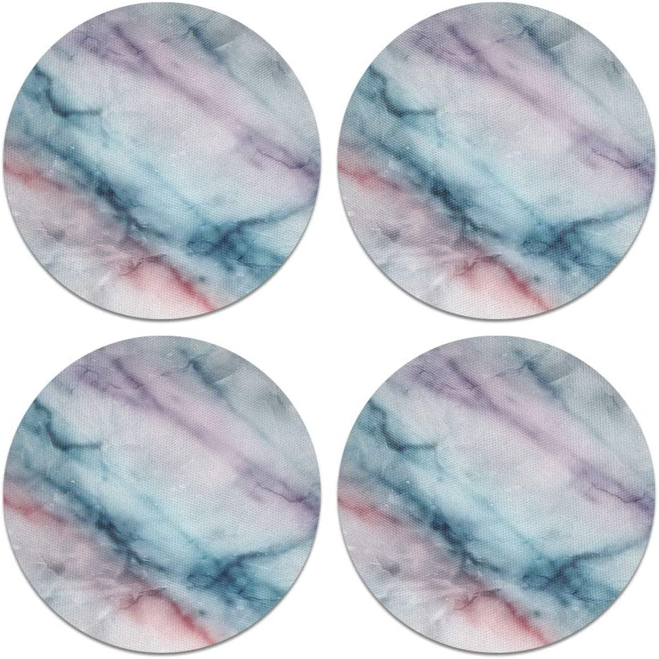 CARIBOU Coasters, Purple Green Pink Marble Design Absorbent ROUND Fabric Felt Neoprene Coasters for Drinks, 4pcs Set