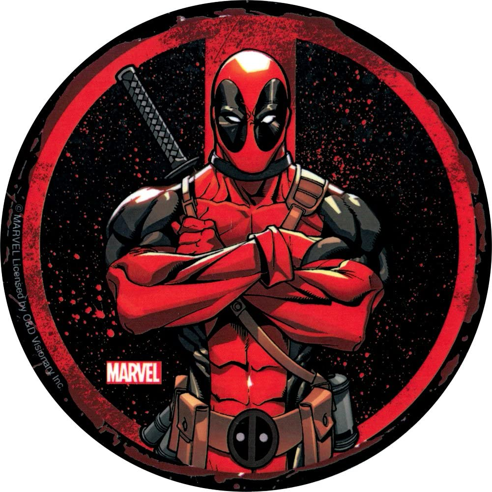 Die Cut Bumper Sticker//Decal Square Deal Recordings /& Supplies Deadpool with Arms Crossed