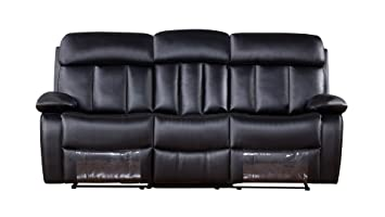 Admirable American Eagle Furniture Dunbar Collection Faux Leather Reclining Sofa With Pillow Top Armrests Black Ocoug Best Dining Table And Chair Ideas Images Ocougorg