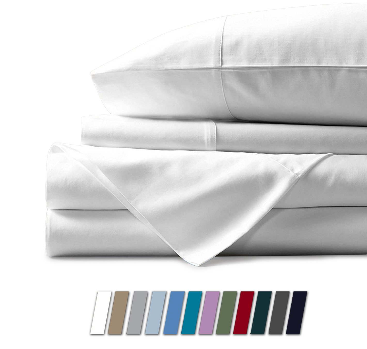 Mayfair Linen Hotel Collection 100% Egyptian Cotton - 500 Thread Count 4 Piece Sheet Set- Color White,Size King by Mayfair Linen (Image #1)