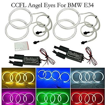 Qiuko 4pcs 120mm Car CCFL Halo Rings Angel Eyes LED Headlights for BMW e32 e34 e30 Car-Styling 6-Color (green): Automotive