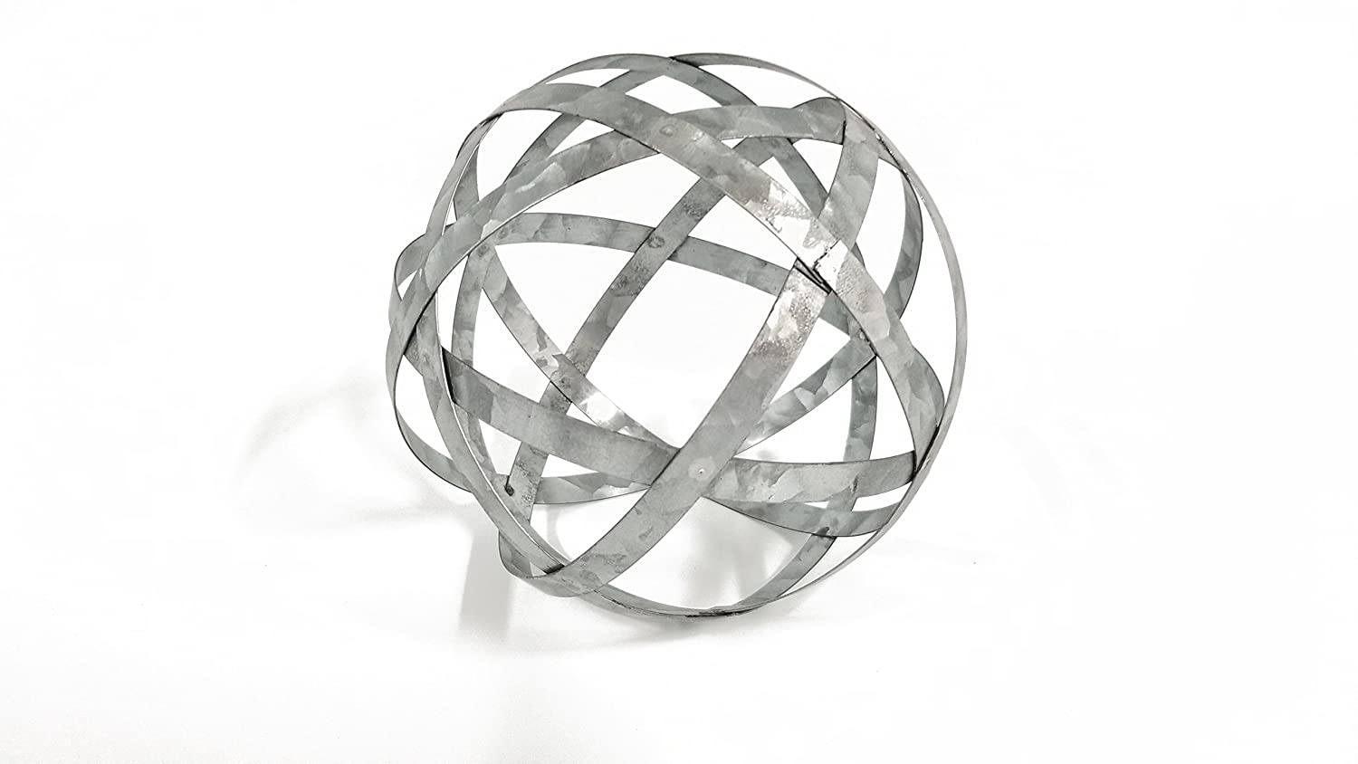 Medium Galvanized Metal Band Decorative Sphere