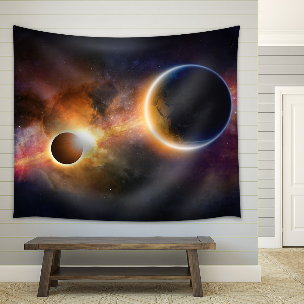 wall26 - Abstract scientific background - glowing planet Earth in space, solar eclipse, nebula and stars - Fabric Wall Tapestry Home Decor - 51x60 inches