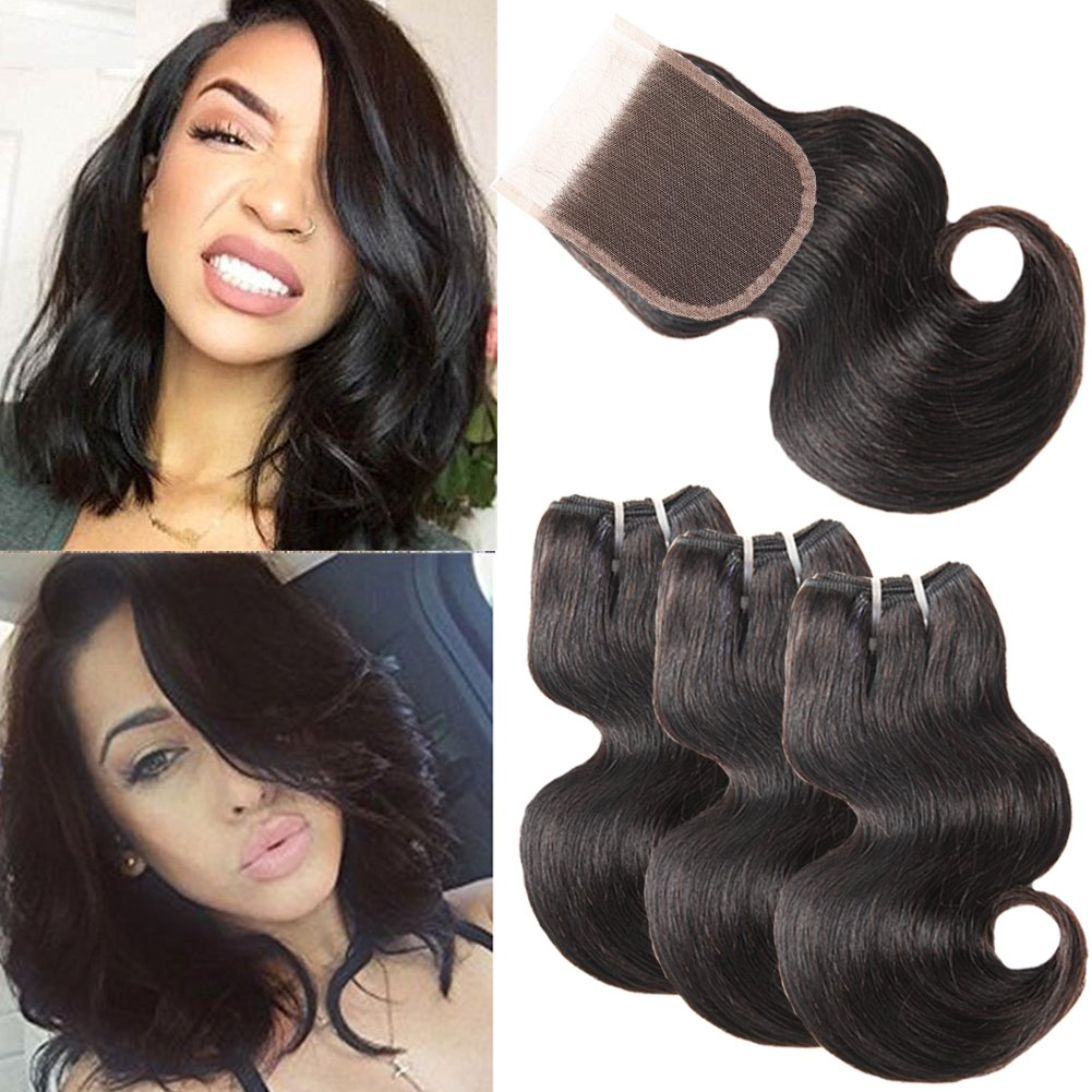 8a Brazilian Human Hair Weave Body Wave Bundles With Closure 8 Inch