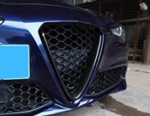 Carbon Fiber Style ABS Plastic Front Grill Decoration Frame Cover Trim for Alfa Romeo Giulia 2017 2018, 1 pcs/set