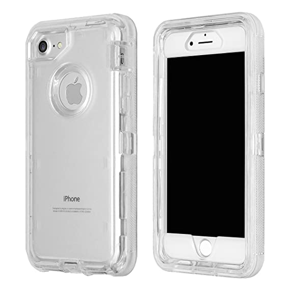 e65f6c355c iPhone 6 7 8 Case, MAXCURY Hard PC Bumper + Soft TPU Back Clear Phone Case  3 in 1 Hybrid Protective Dual Layer Shockproof Clear Case for Regular iPhone  ...