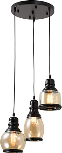 3-Light Glass Pendant Light, Multi-Pendant Glass Chandelier with Amber Tinted Jar Glass Shades, Adjustable Corded Pendant Lights Matte Black Finished Bulb Not Included
