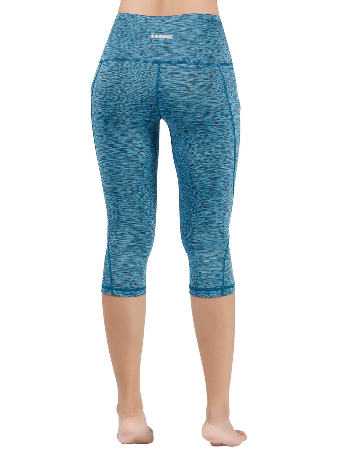 ODODOS High Waist Out Pocket Yoga Capris Pants Tummy Control Workout Running 4 Way Stretch Yoga Leggings,SpaceDyeBlue,X-Small by ODODOS (Image #3)