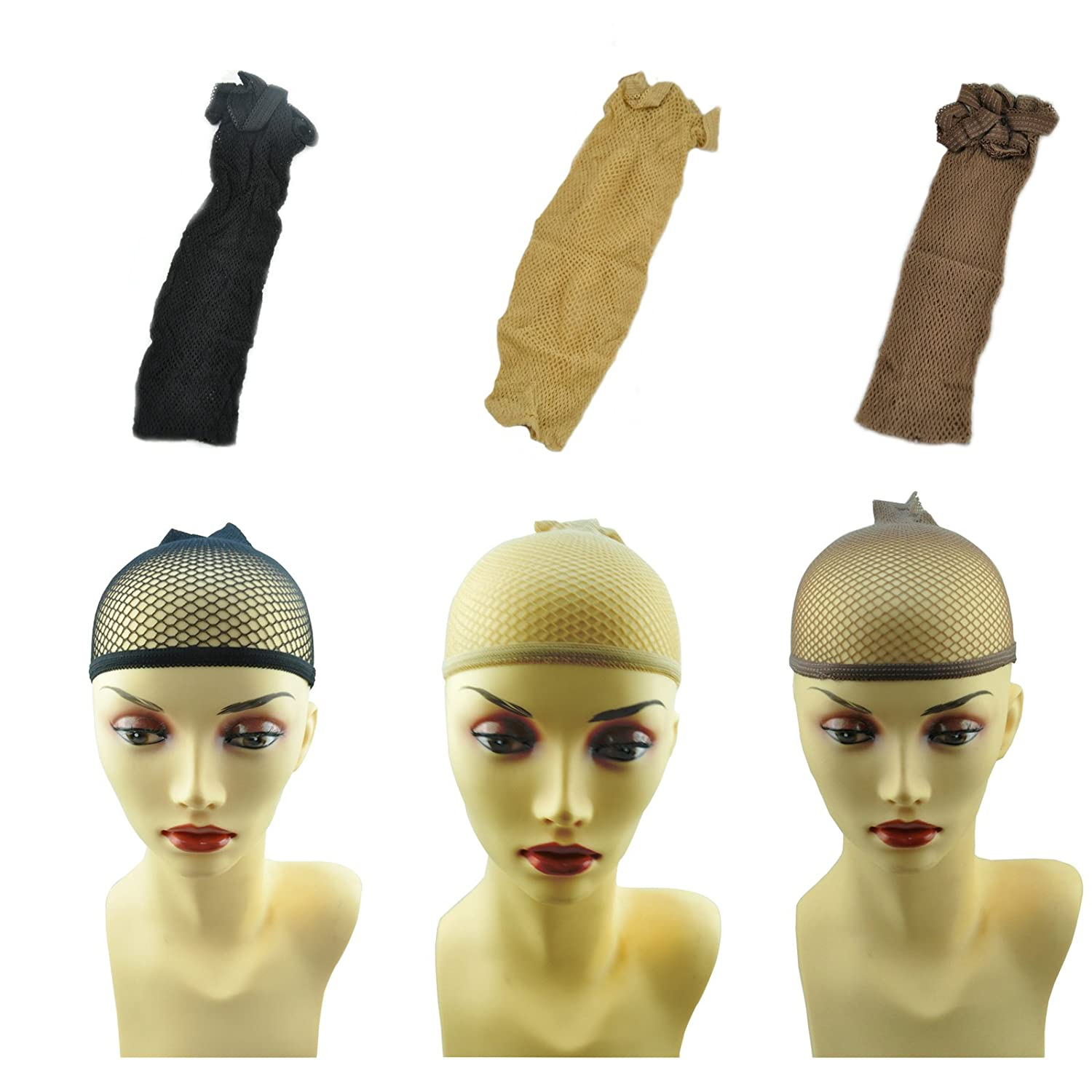 Lot de 2 Filet à cheveux Bonnet Soutien de Perruque Chaussette en maille ouverte streach net marron Beyond Your Thoughts
