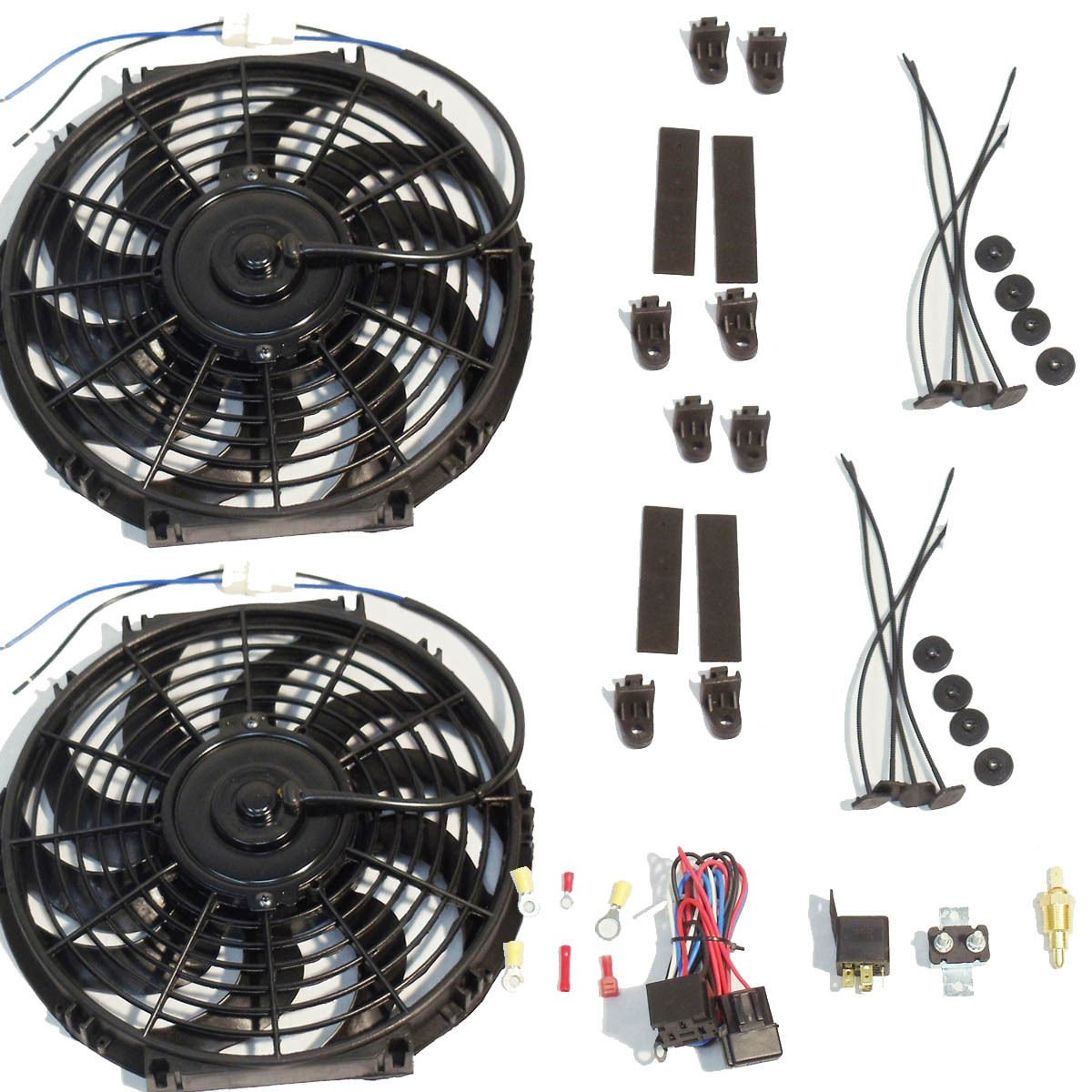 Dual 2 12' Curved Blade Reversible Cooling Fans 12v 1400cfm + Thermostat Kit DEMOTOR