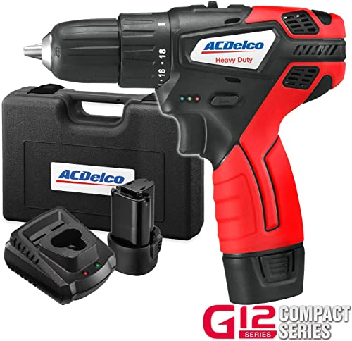 ACDelco BLOWOUT 3 8 2-Speed Drill Driver Cordless Li-ion 12V Max Compact Tool kit with Charger, 2 Batteries, and Carrying Case, G12 Series ARD12119
