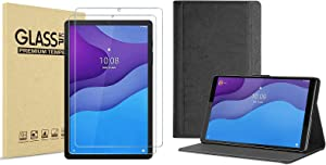 [2 Pack] ProCase Screen Protector Bundle with Folio Case for Lenovo Tab M10 HD 2nd Gen (TB-X306X) / Smart Tab M10 HD 2nd Gen (TB-X306F)