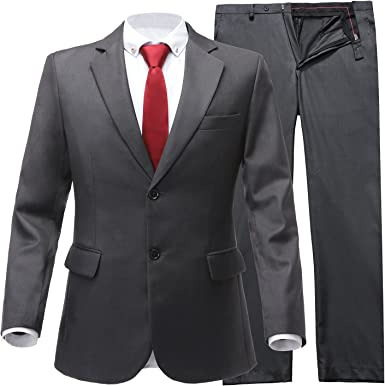 Loveetoo Men S Slim Fit Formal 2 Piece Solid Mens Suits Business Shawl Lapel Two Button Blazer Pants Tuxedos 46us Uk 56eu Jacket 40 Pants Grey Amazon Co Uk Clothing