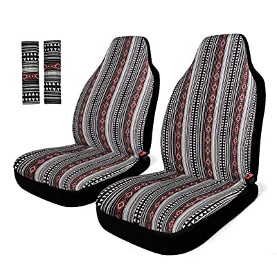 INFANZIA Car Seat Protector Baja Blanket Front Car Seat Covers with Belt Covers Universal Fits Car, Truck, SUV, Van, 4Pcs, Black and Red: Automotive