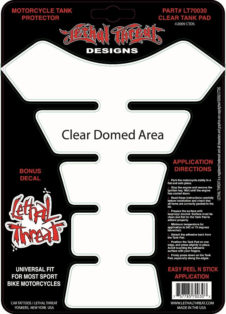 Lethal Threat YSLT70030 Clear Tank Pad for All Sportbikes