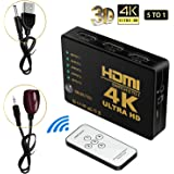 HDMI切り替え 切替器 5入力1出力 hdmi セレクター 赤外線リモコン付 自動手動切り替え USB給電ケーブル付 4K 3D映像 1080p DVD Xbox TV ゲーム機など対応 【安心の2年間保証】