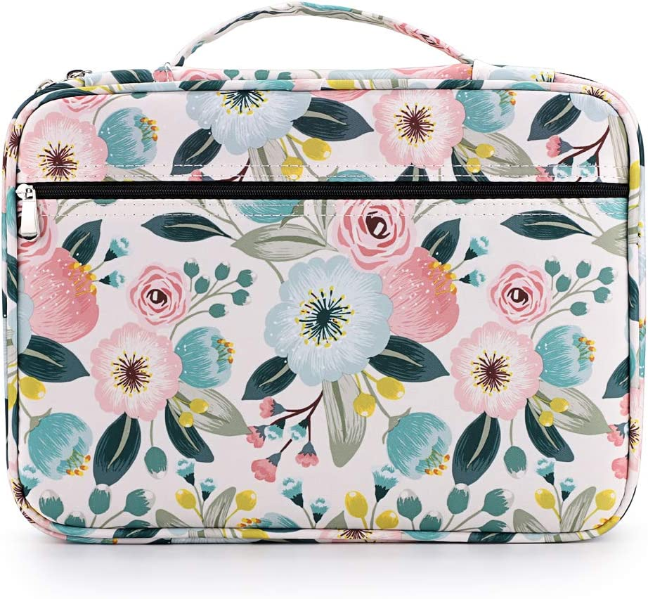 BTSKY Portable Colored Pencil Case - Colored Pencil Organizer Holds 166 Pencils or 112 Gel Pens Large Capacity Zippered Pencil Holder Gel pens Watercolor Flowers
