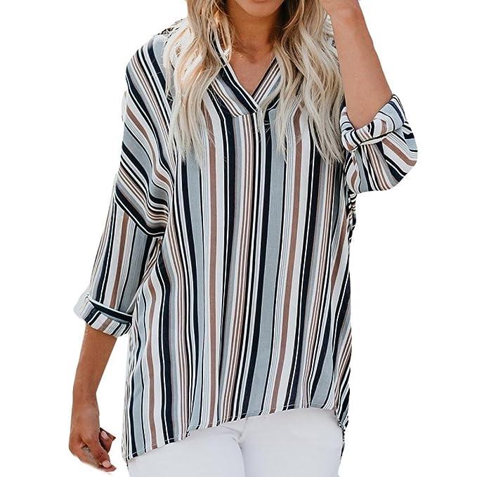 Tefamore Camisas Mujer, Blusa de Manga Larga Mujer Rayado Impreso Camiseta de Tops