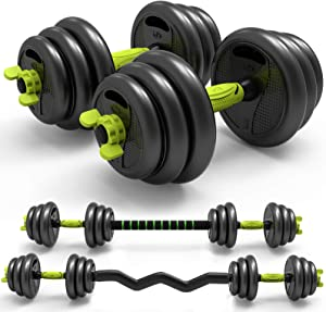 Adjustable Weight Dumbbells Set 3-in-1 Core Home Fitness Equipment Curved Rod Weight Set of 5/10/15/20/ 33, 66 lbs for Men Women Gym Workout Strength Training Used as Barbell