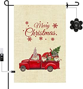 Christmas Vintage Red Truck Pine Trees Home Decorative Yard Small Flag, MGahyi Winter Welcome Decorative Garden Flag, Double Side Happy New Year Outside Decor Flag(12x18 Inch)