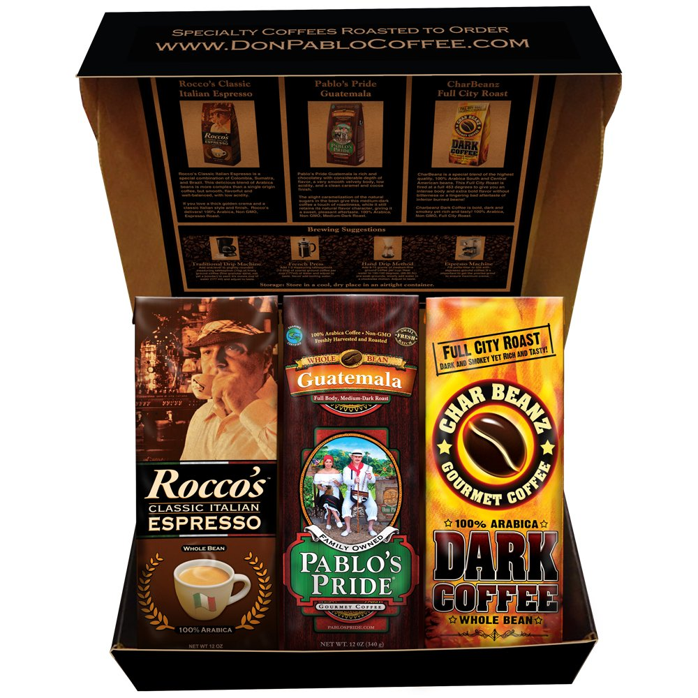 Cafe Don Pablo Holiday Gift Box Coffee Sampler - Variety of 3 Whole Bean Coffee - 3 / 12oz bags - Guatemala, Rocco Espresso, Char Beanz DARK Roasted Coffee