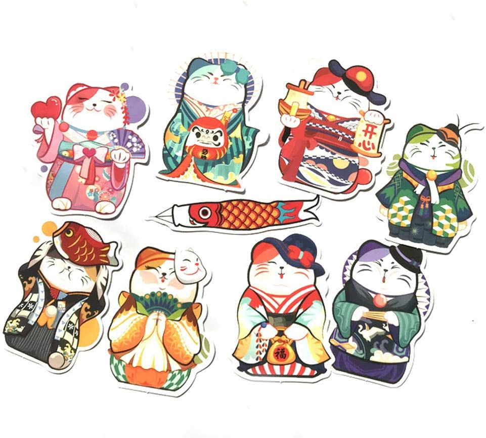THE MIMI'S Japan Lucky Cat Laptop Stickers Luggage Decal Graffiti Patches Skateboard Stickers for Laptop - No-Duplicate Sticker Pack (9PCS)