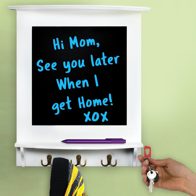 Chalkboard in White Frame with Hooks & Shelf   For Home, Office, Memos, School