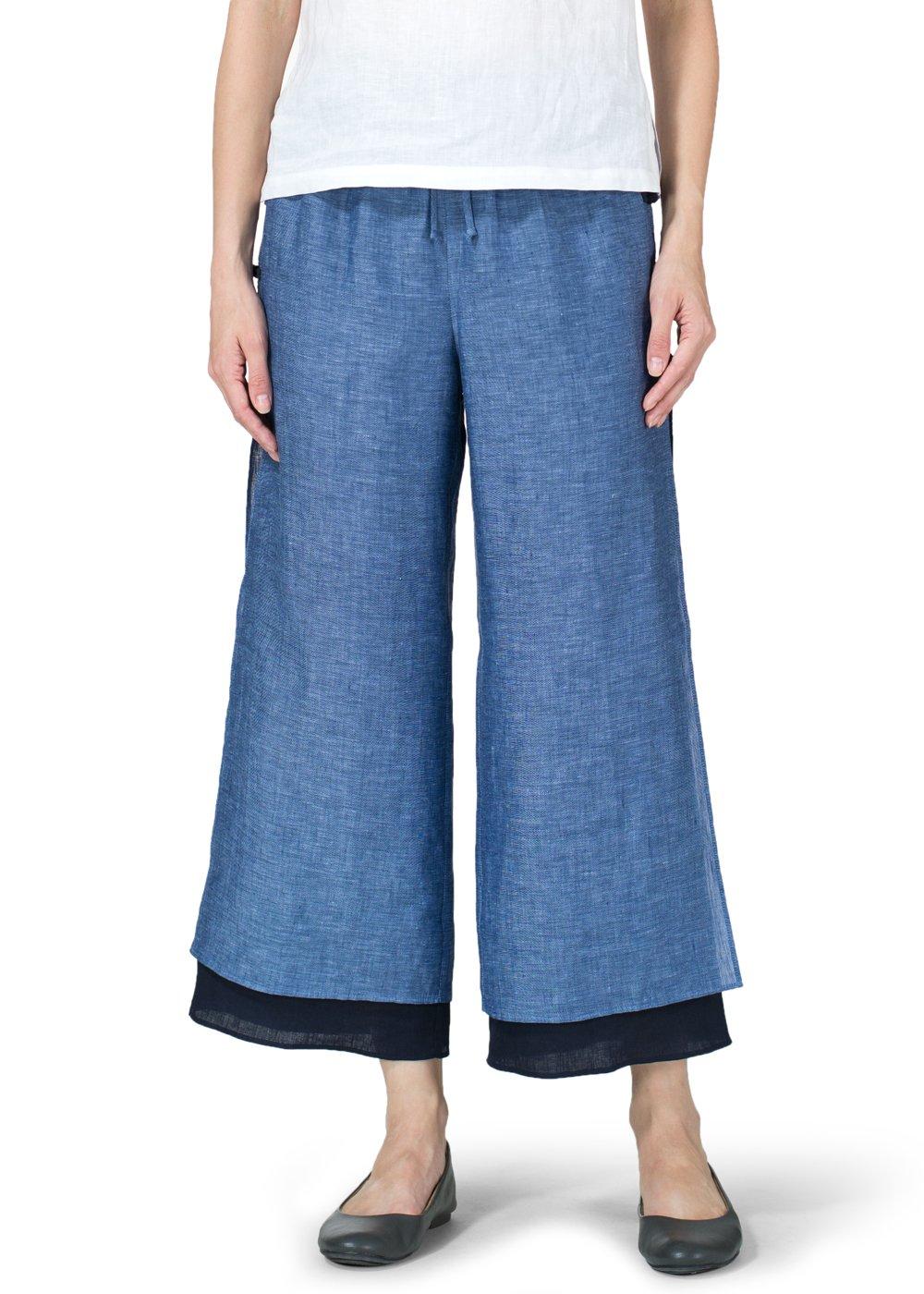 Vivid Linen Double Layer Cropped Pants-1X-Azure Blue/Navy