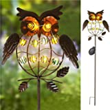 TAKEME Garden Solar Lights Outdoor,Solar Powered Stake Lights - Metal OWL LED Decorative Garden Lights for Walkway,Pathway,Yard,Lawn