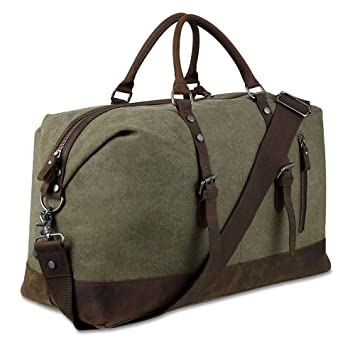 576743a3c Amazon.com | Canvas Overnight Bag Travel Duffel Genuine Leather for Men and  Women Weekender Tote (Army Green) | Travel Duffels