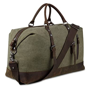 Canvas Overnight Bag Travel Duffel Genuine Leather for Men and Women  Weekender Tote (Army Green 2b7c235284