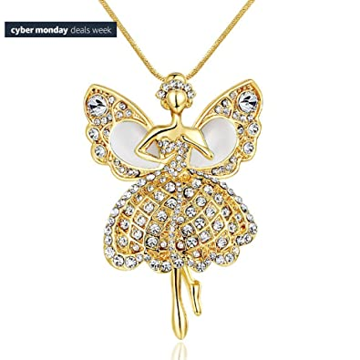 Amazon gold plated crystal ballerina dancer drop wings angel gold plated crystal ballerina dancer drop wings angel pendant necklace for wedding mozeypictures Image collections
