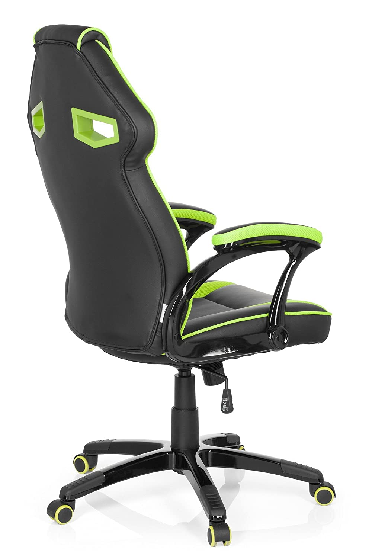 hjh OFFICE 722210 Silla Gaming Guardian Piel sintética Negro/Verde Silla de Escritorio