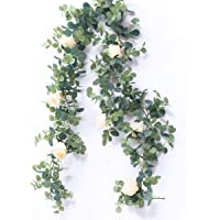 Australove Artificial Eucalyptus Garland with Champagne Rose- Floral Garland Eucalyptus Leaves for Wedding Backdrop Wall…