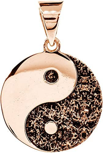 Amazon Com Sziro Large Yin Yang Medallion Charm Pendant With Black Two Sided Reversible 1 Inch In 14k Pink Rose Gold Necklaces Jewelry