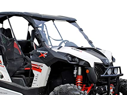 SuperATV Heavy Duty Scratch Resistant Full Windshield for Can-Am Maverick/Max/Turbo