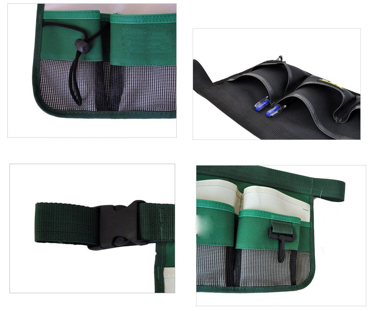 Thicken Canvas 7 Pocket Gardening Tools Belt Bags Garden Waist Bag Hanging Pouch,Green